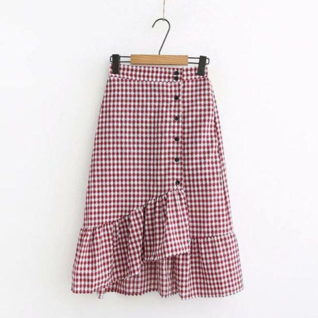 Irregular Ruffle Skirts Sweet Women Pleated Skirt Fashion Plaid A-Line High Waist Vintage Button Retro Summer Casual Ladies Plai